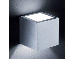 Sześcienna lampa ścienna SIRI, aluminium matowe