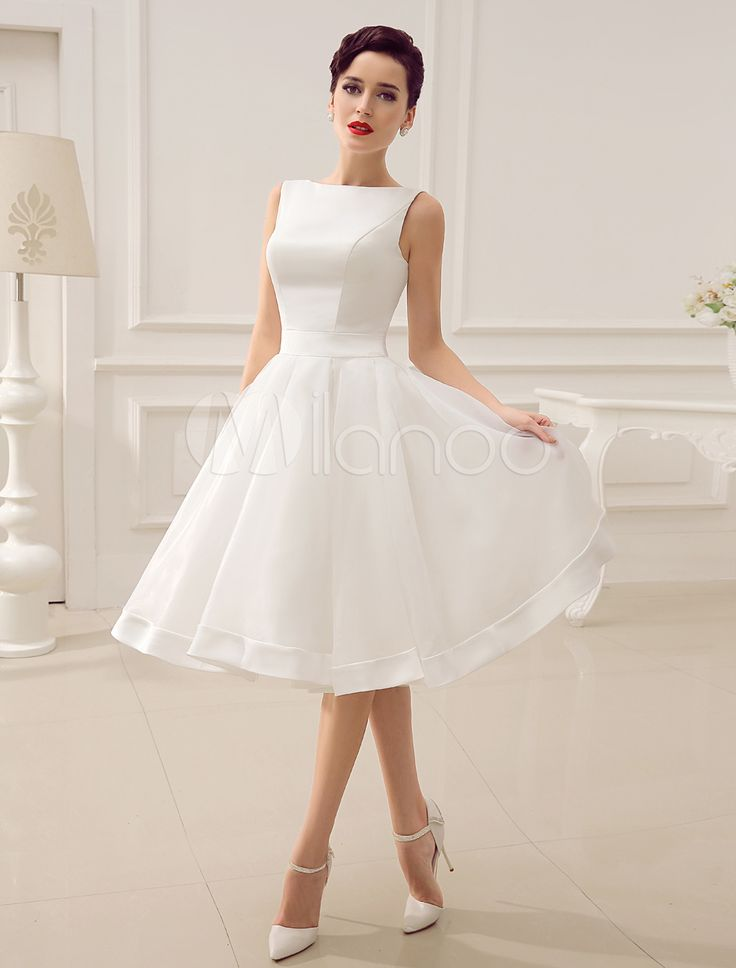 Cut Out Backless Satin Short Wedding Dress with Bow Decor Sash