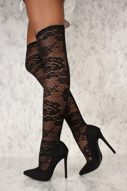 2acd8dfff061 Sexy Black Embroider Lace Pointy Toe Thigh High Heel Boots