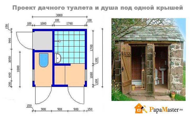 Как на даче построить душ и туалет на даче фото чертежи