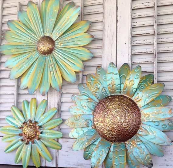 Metallic Turquoise Wall Flower Grouping / by ChicFabulousFlowers