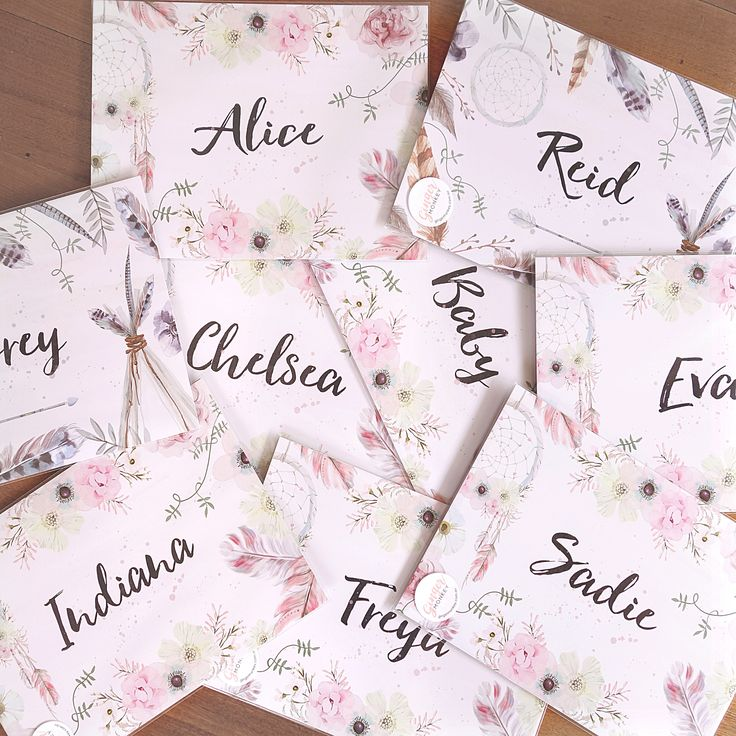Bunch of personalised girls Boho Name Prints ready for shipping.