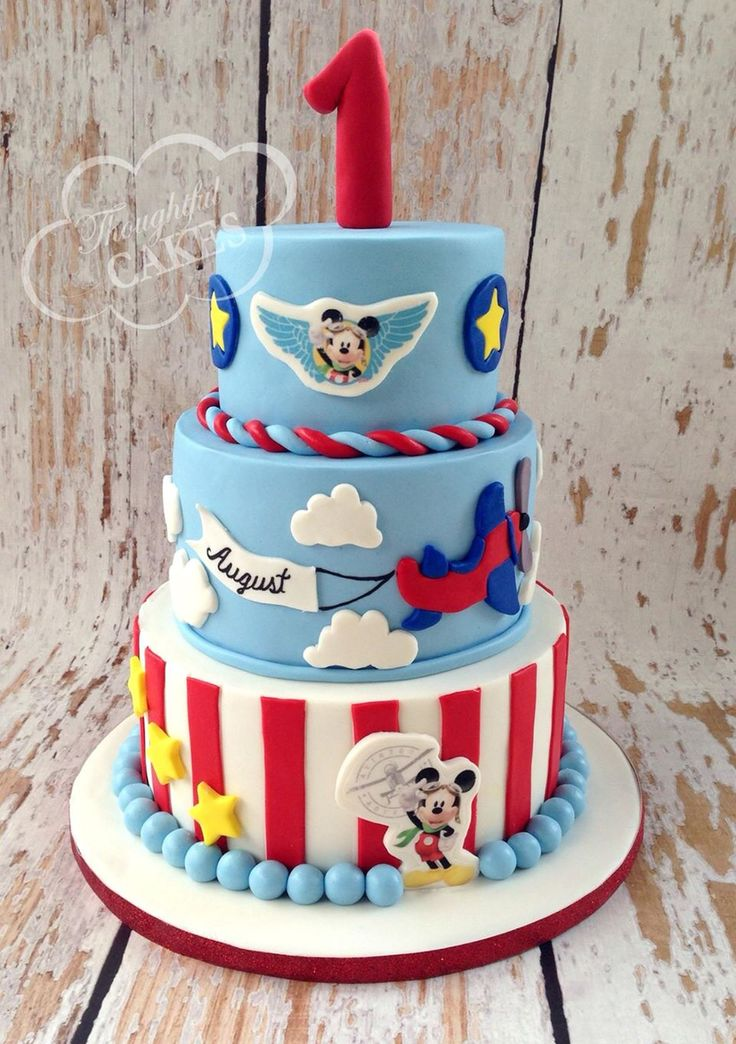 Mickey Mouse airplane pilot themed birthday cake