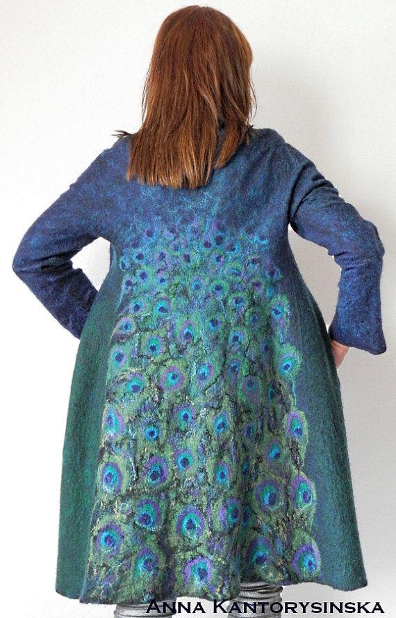 nuno felted coat PEACOCK COAT handmade felted by anna kantorysinska