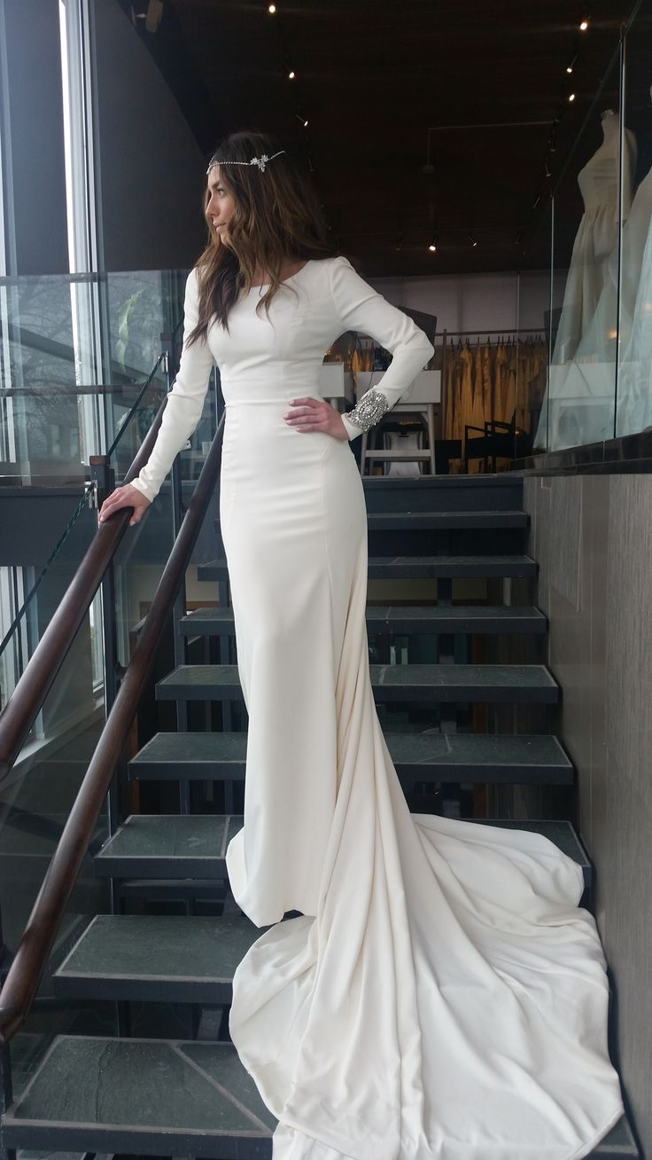 Modest wedding dress with long sleeves from alta moda for Modest wedding dresses seattle