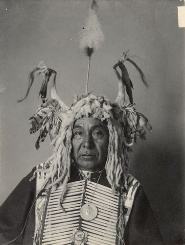 Portrait of Maka Zi (Yellow Earth), called John Lone-Dog, in native dress with George Washington peace medal and other medal and headdress.  Part of Siouan (Sioux) and Yankton Tribes.  1903.