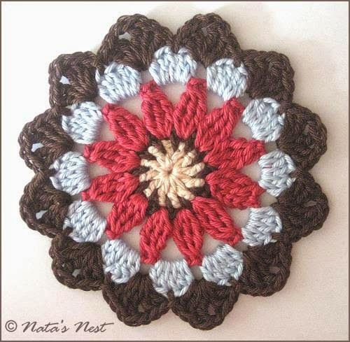 Natas Nest: Mandala Flower Coaster - Free Crochet Pattern ✿⊱╮Teresa Restegui http://www.pinterest.com/teretegui/✿⊱╮✿