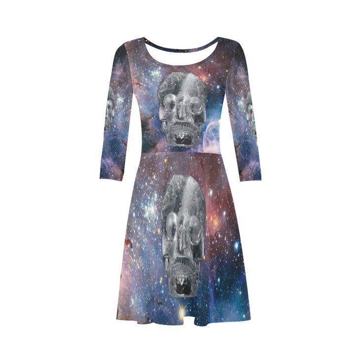 Crystal Skull 3/4 Sleeve Sundress. Material: 92% Polyester, 8% Spandex, well made lightweight soft fabric, skin-friendly. Sizes: XS, S, M, L, XL, XXL, XXXL.FREE Shipping. #beoriginalstore #dresses
