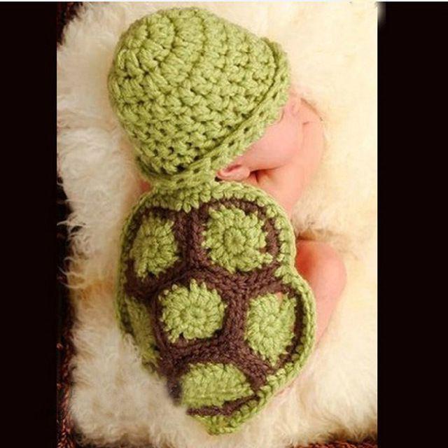 Черепаха форма новорожденных мальчиков девушки фотографии мультфильм опоры Cap комплект, Младенческой крючком ткань вязаные шапки на день рождения новый год