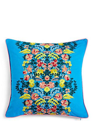 Folk Floral Embroidered Cushion | M&S