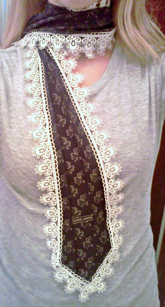 Repurposed Men's Necktie Scarf...ok, maybe not like this but it's giving me some ideas!!!