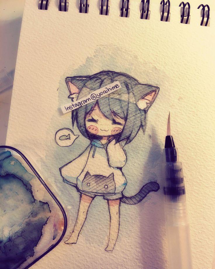 Прикольные картинки для срисовки в скетчбук легкие для девочек аниме, днем