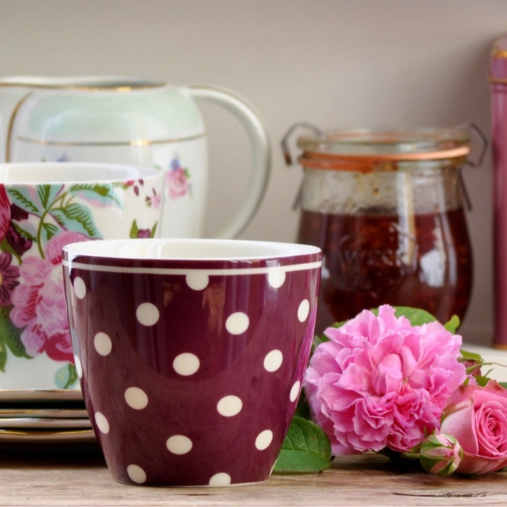 GreenGate Latte Cups Naomi Plum and Valery White