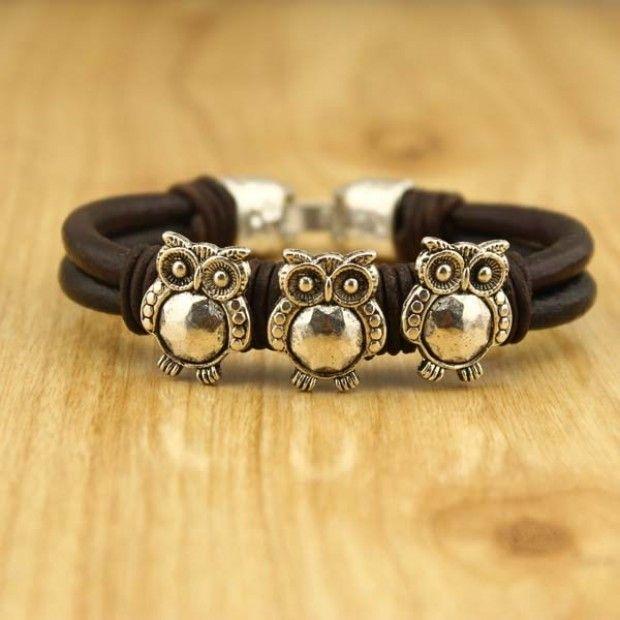 Owl leather bracelet - ID leather bracelet - Eco-friendly bracelet - Owl slider bracelet - birthday bracelet - bracelet - ETS-B323