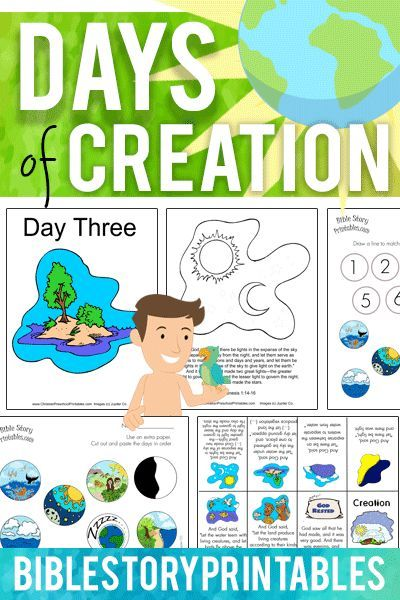 Free Days of Creation Bible Printables, Games, Activities and more!  Color through the creation story, printable minibooks, bulletin board sets!  Everything you need for your Creation theme.  Free from BibleStoryPrintables.com