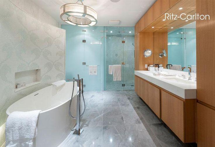 Ritz carlton bath love the different textures wood tile for Zen bathroom lighting