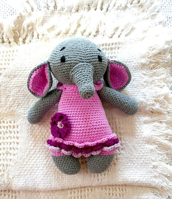 READY TO SHIP Crochet Elephant Ballerina Toy cotton toy