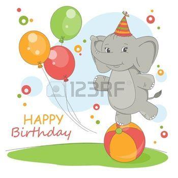 Buon compleanno. Illustrazione colorato con elefante carino e palloncini. photo