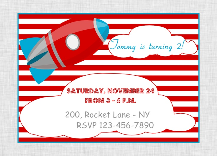 Printable Rocket Party Package at our Etsy shop http://www.etsy.com/shop/BistrotChic