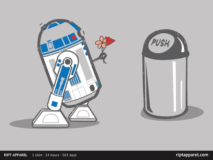 ROBOT CRUSH R2-D2 Gives Flowers to Trash Can Star Wars. RIPT Apparel Tee.
