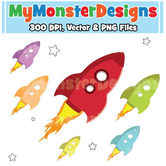 Cute Rocket Ship Clipart Commercial Use by ...