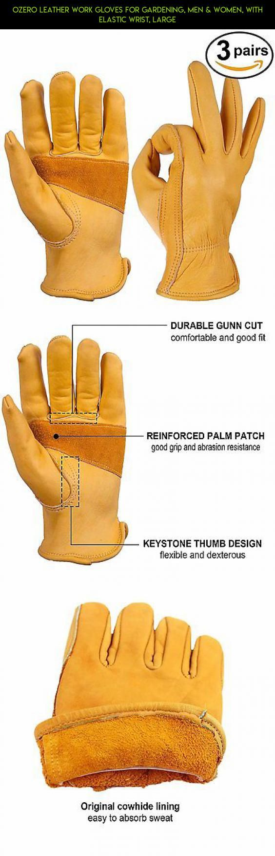 Mens leather kid gloves - Ozero Leather Work Gloves For Gardening Men Women With Elastic Wrist Large