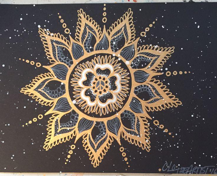 Gold Peace Mandala/metallic gold/black media paper/splatter/peace sign/mandala art/original by CLoTheArtist on Etsy
