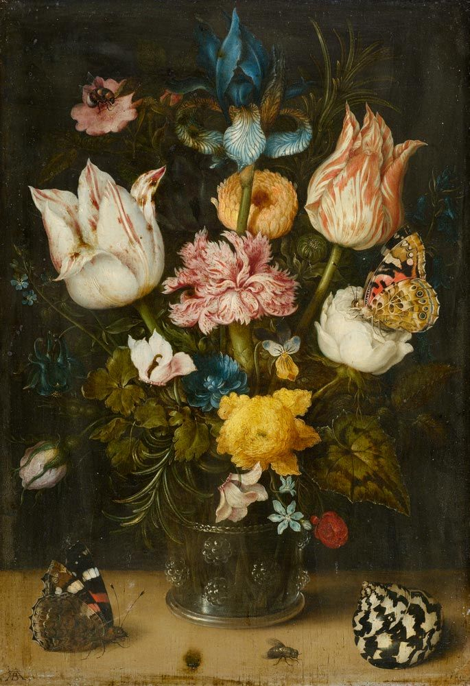AMBROSIUS BOSSCHAERT, the Elder (Antwerp 1573 - 1621 The Hague) Bouquet with tulips, an iris, carnation, cyclamen, marigold, forget-me-not, some rosemary foliage and other flowers in a rummer, with butterflies, a bee, a top shell and a fly. 1608.