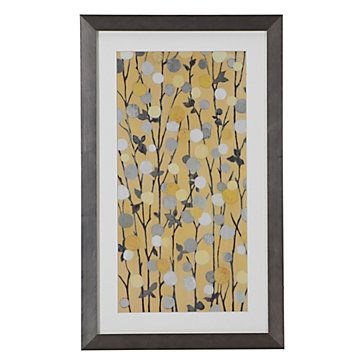 Do something like this using the wall paint as the background to blend!  Yellow Mandarins 2, $79.95
