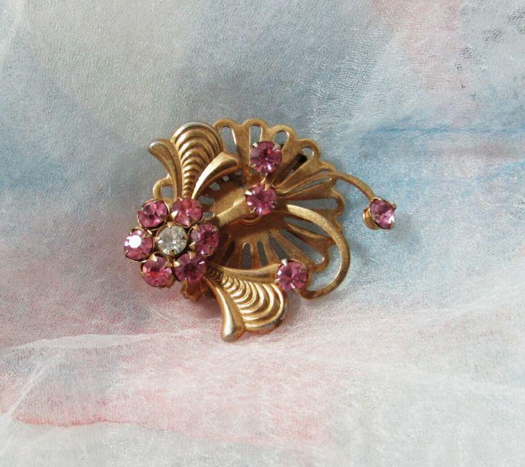 Pretty in Pink Flower Rhinestones Brooch, Pin, Gold Tone, Clear Rhinestone, Bridal Bouquet Accent, Scarf, Sweater, Lapel, Mid Century