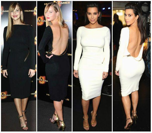 Jennifer Lawrence and Kim Kardashian wearing a similar backless bodycon!