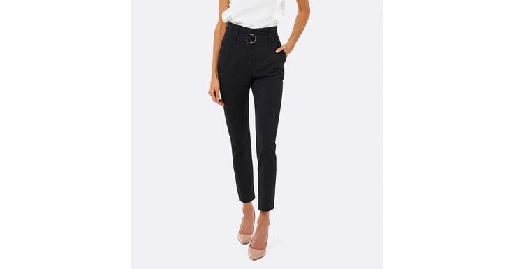 Talia tapered paper bag pants Black - Womens Fashion | Forever New