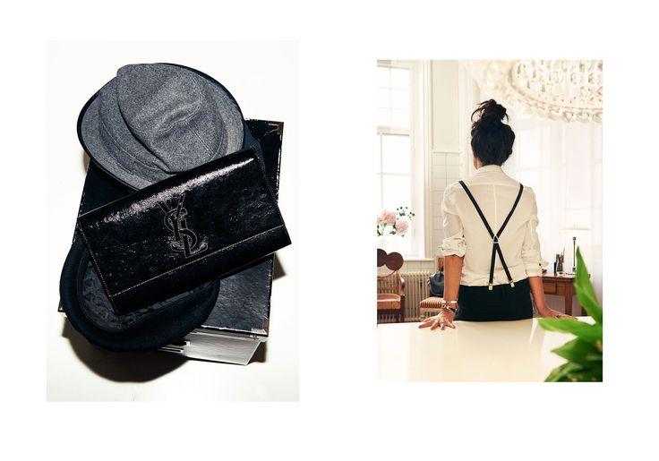 """""""Clutch från YSL, hatt från  V Avenue Shoe Repair."""" """"Skjorta och byxor från Ann Demeulemeester. Hängslen från H&M och armband från Hermès."""""""