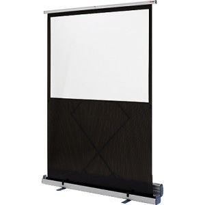Pantalla de proyección completamente portátil y compacta con la superficie blanca mate.  Construida en aluminio, con sistema teléscopico que permite regular la altura.  Medidas: 119 x 90 cm.