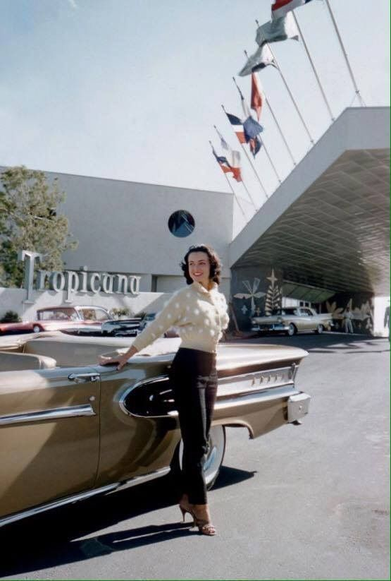See how classy and pretty people were back in the day, not what you see today.   Kitty Dolan at the Tropicana Hotel, Las Vegas, 1957