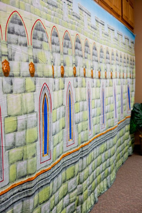 Decorating Ideas » Kingdom Rock VBS The Castle Backdrop is available to purchase. It is a quick and easy way to set the scene in any room. Can cover up almost anything.