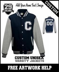 logo text print customized varsity jacket custom print