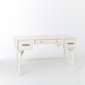 A desk that's no wallflower. Crafted of FSC(R)-certified wood and finished in white lacquer, this clean-lined desk combines a generous tabletop and three drawers. Finished on all four sides... More Details