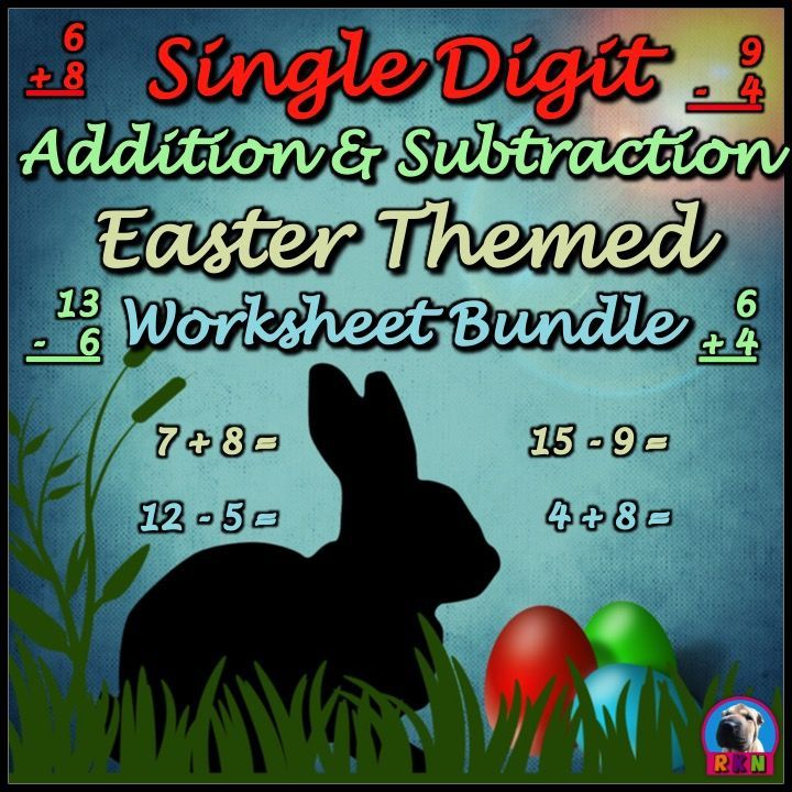 Easter Themed Single Digit Addition and Subtraction Worksheet Bundle.  This bundle includes all four Easter themed single digit addition and subtraction worksheet packets (A total of 60 pages).  They are great for a quick assessment, extra practice, math sprints, or homework.