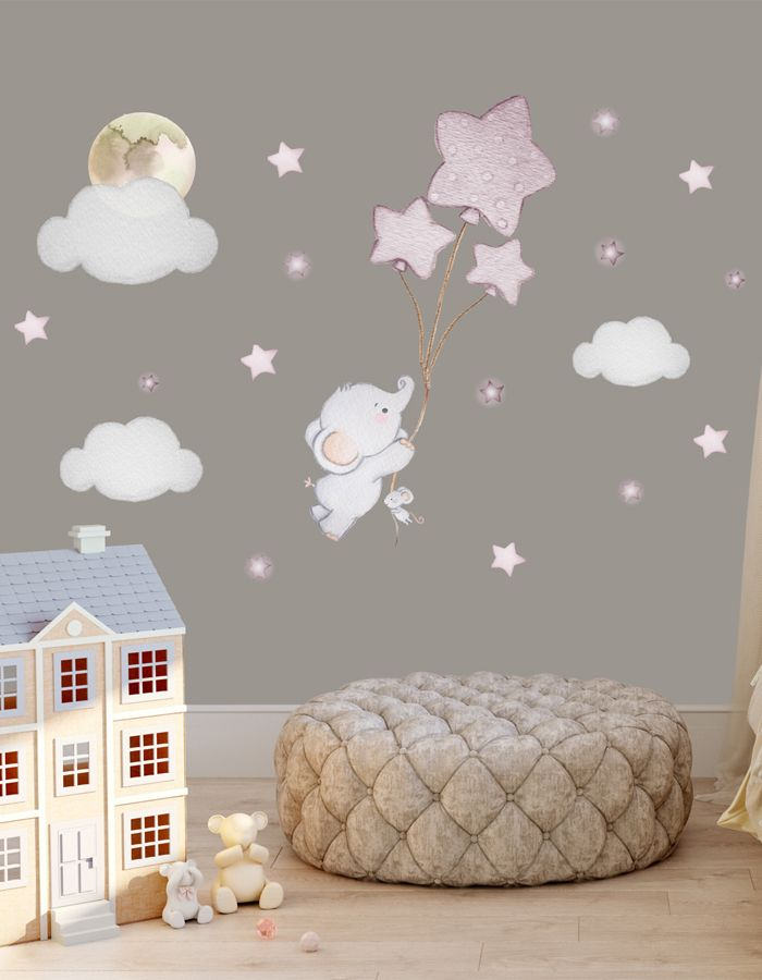 Elephant Balloon Wall Decal Baby Room Wall Sticker Elephant Nursery