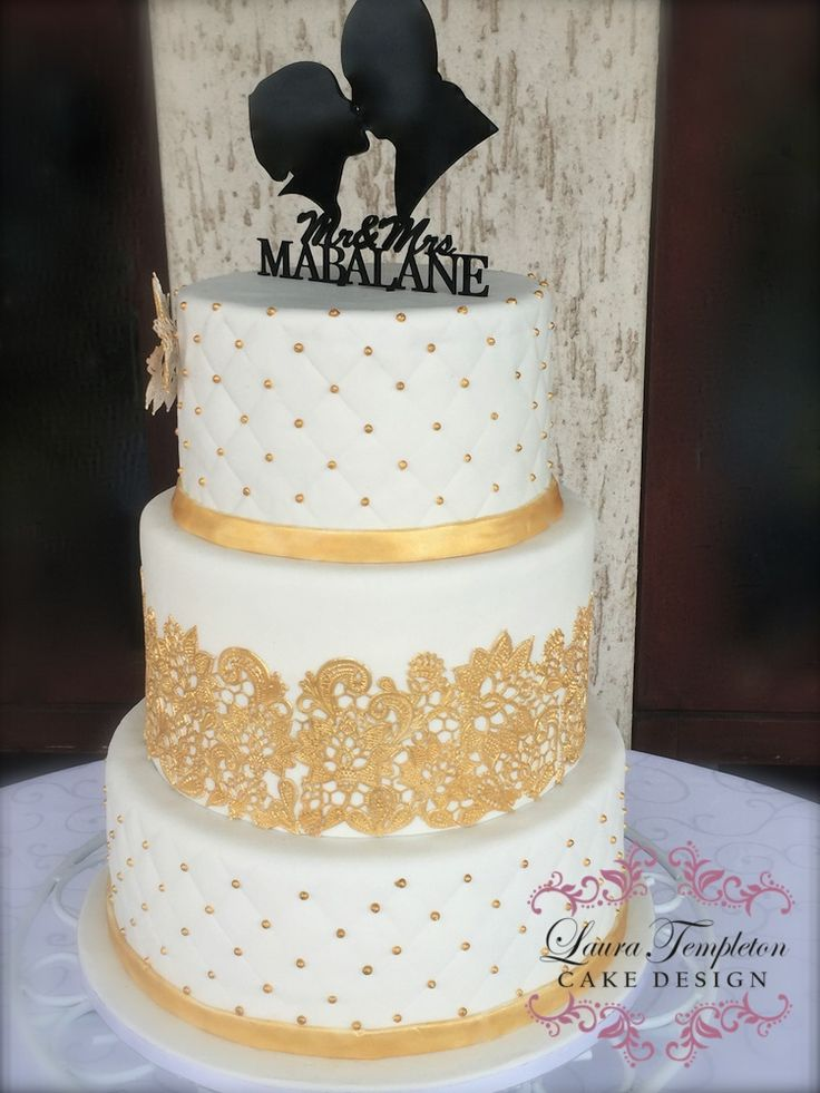 Wedding Cake With Gold Lace Gold antique lace cwtch the bride
