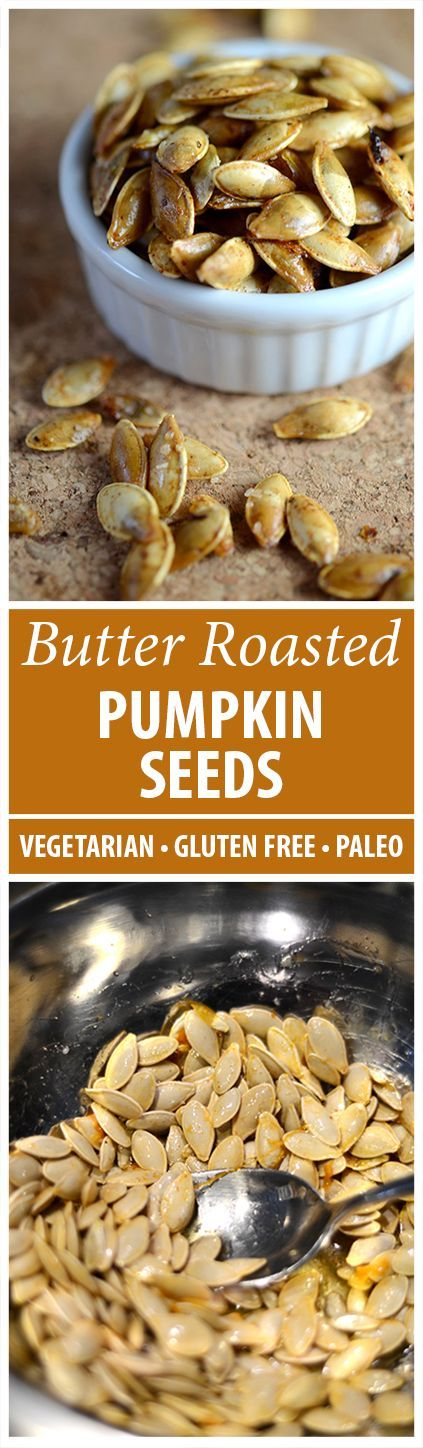 Intense Fall Flavors! This butter roasted pumpkin seeds recipe has 2 ingredients. Gluten free, paleo, primal and wheat belly friendly! Enjoy them today-