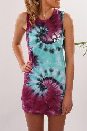 Santa Cruz - Classic Dot Muscle Dress Purple Haze $64.95 Shop // http://www.jeanjail.com.au/ladies/santa-cruz-classic-dot-muscle-dress-purple-haze.html