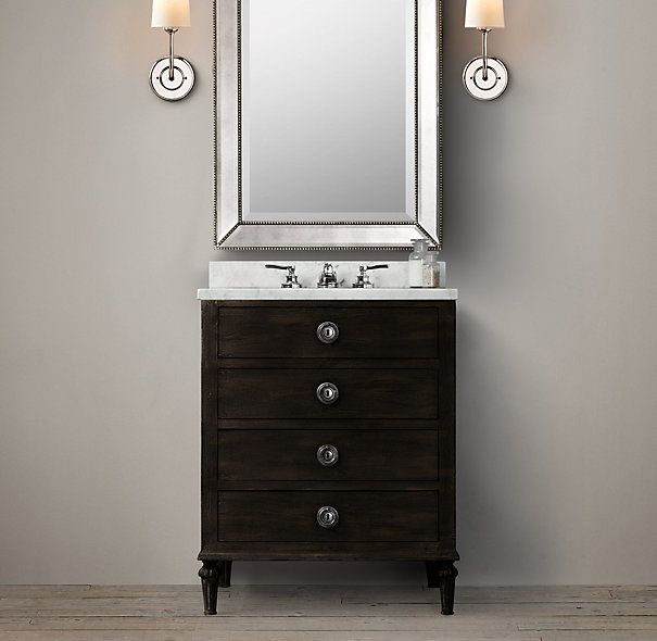 Maison powder room vanity sink 36 or 27 1545 for 27 inch for Powder bathroom vanities