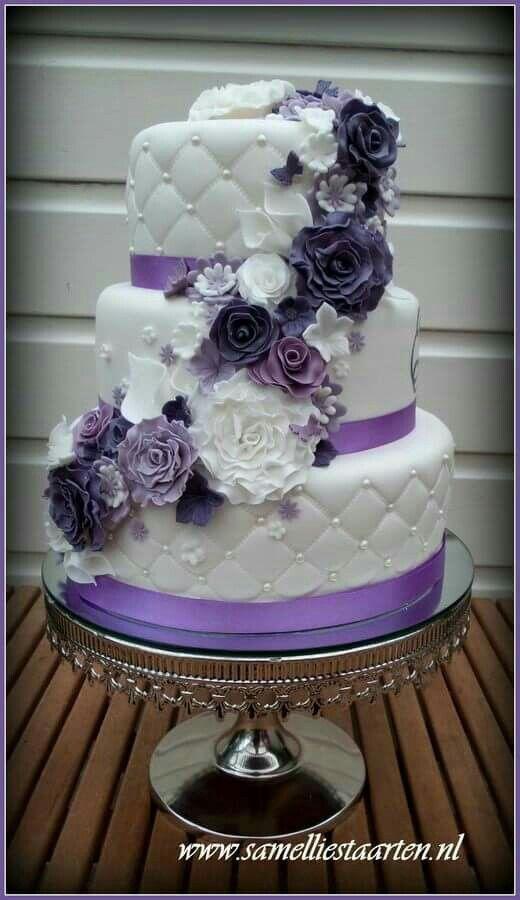 Purple themed wedding cake