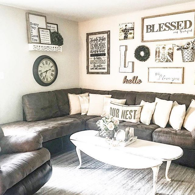 Farmhouse Living Room With Dark Sectional Farmhouse Style Living Room With Brown Couch Living Room Farmhouse Living Room Furniture Farmhouse Decor Living Room #one #couch #living #room