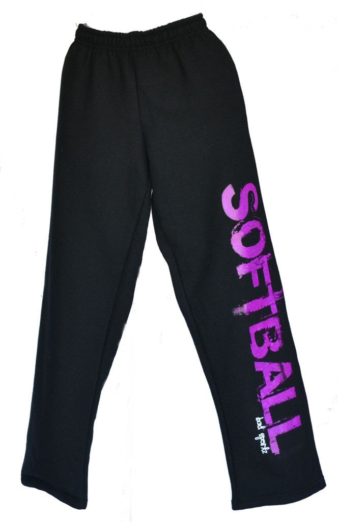 SOFTBALL Sweatpants in Black with Purple Printing