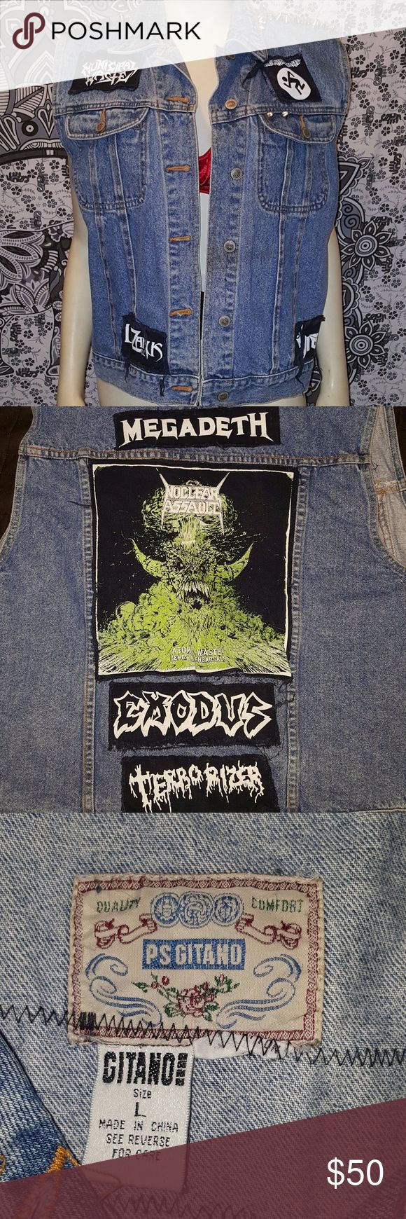 """PS GITANO Vintage Battle Vest, Size Large Vintage 80s denim vest with sewn on patches. My hubs bought this for me to add my own patches but I got too fat for it :( Patches include Megadeth, Exodus, Terrorizer,  Municipal Waste, Lazarus A.D., Violator and Nuclear Assault. Vest also has spikes and metal pyramids along the shoulder. Flat measured, while fastened from pit to pit, is 22""""  ***Vest has not been washed because, according to my husband, you're not supposed to.*** PS Gitano Jackets…"""