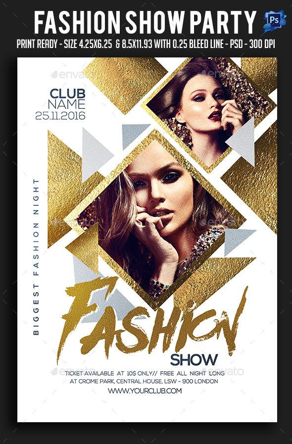 Fashion Show Party Flyer Template PSD