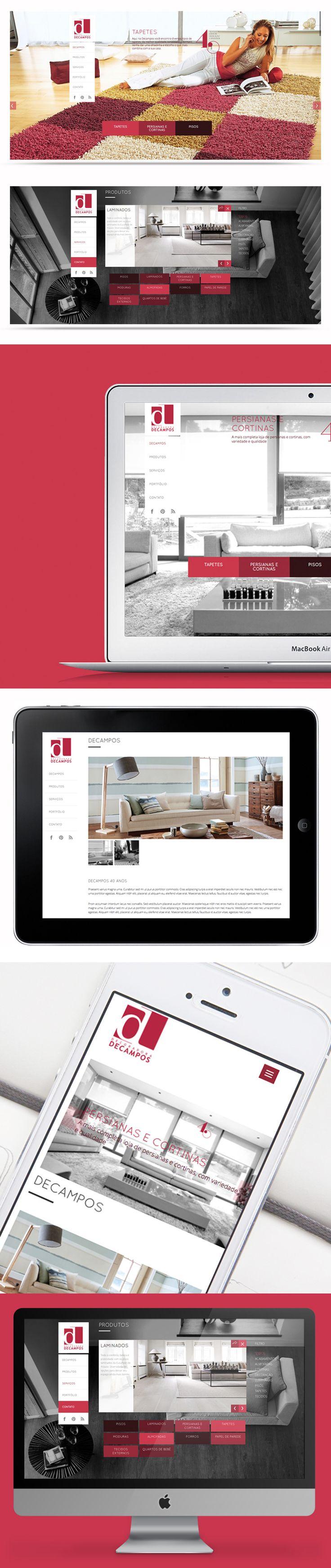 Projeto de web design responsivo. Site da Decampos Decoradora desenvolvido pela Kadabra Design Estratégico.